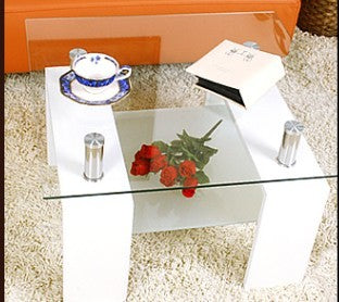 MAX- JND- 02- WHITE COLOR- GLASS TOP- ACCENT SIDE TABLE WITH SHELF
