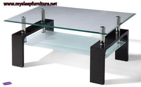 2048- ESPRESSO BROWN COLOR- GLASS TOP- COFFEE TABLE- WITH SHELF