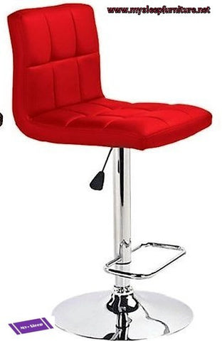 MAX- RED COLOR- PU LEATHER- ADJUSTABLE- SWIVEL- BAR STOOL