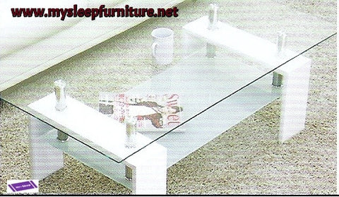 (2013 WHITE)- GLASS- COFFEE TABLE- WITH SHELF