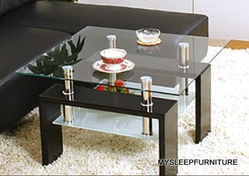 (MAX JND02 BLACK)- GLASS- ACCENT SIDE TABLE WITH SHELF
