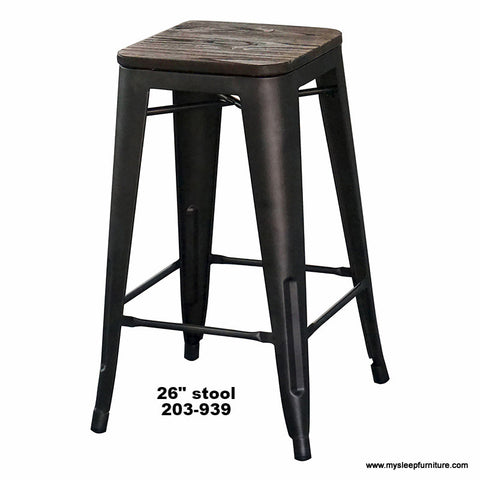 "MODUS GUNMETAL 26"" COUNTER STOOL WITH WOOD SEAT"