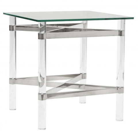 MORELIA 2- CHROME- GLASS- ACCENT TABLE