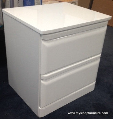 NORTH- GLOSSY WHITE- 2 DRAWER NIGHT STAND
