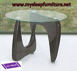 1143- DARK BROWN COLOR- GLASS TOP- ACCENT SIDE TABLE