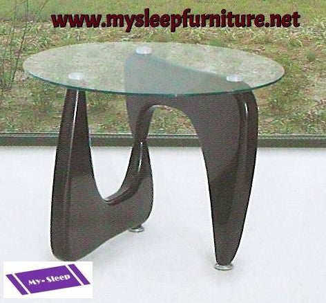 (1143 DARK BROWN)- GLASS- ACCENT SIDE TABLE