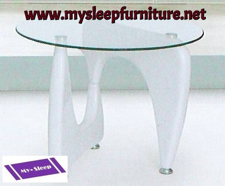 1143- WHITE COLOR- GLASS TOP- ACCENT SIDE TABLE