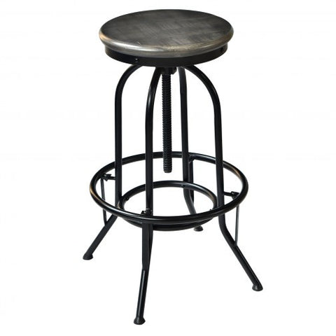 NAVEED - GREY COLOUR - SOLID WOOD - ADJUSTABLE - BAR STOOL