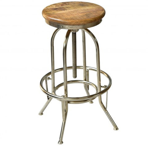 NAVEED - NATURAL WOOD COLOUR - SOLID WOOD - ADJUSTABLE - BAR STOOL