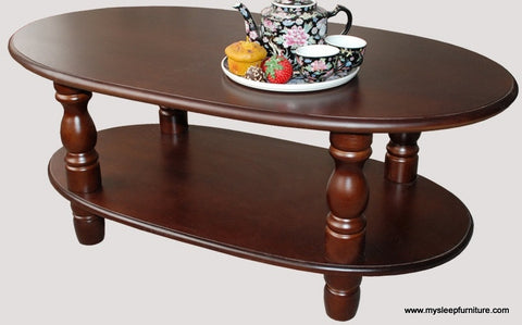 ODILIA OVAL WOOD COFFEE TABLE WITH SHELF