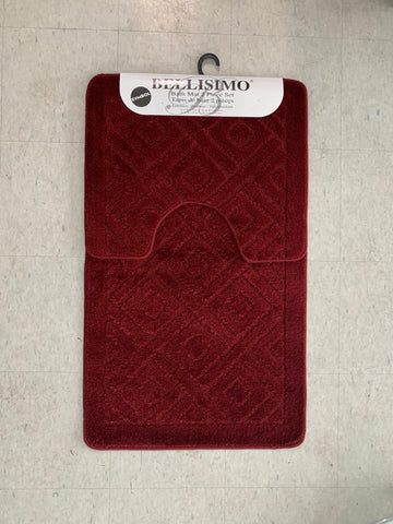 (BURGUNDY COLOR)- BELLISIMO SYMBOL- 2 PC. BATH MAT SET