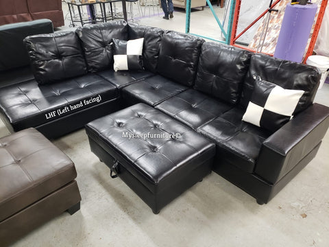 (RITCHIE BLACK LHF)- PU LEATHER- SECTIONAL SOFA- WITH OTTOMAN- WITH MASSAGER PILLOWS