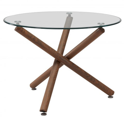 (ROCCA WALNUT)- ROUND- GLASS TOP- DINING TABLE
