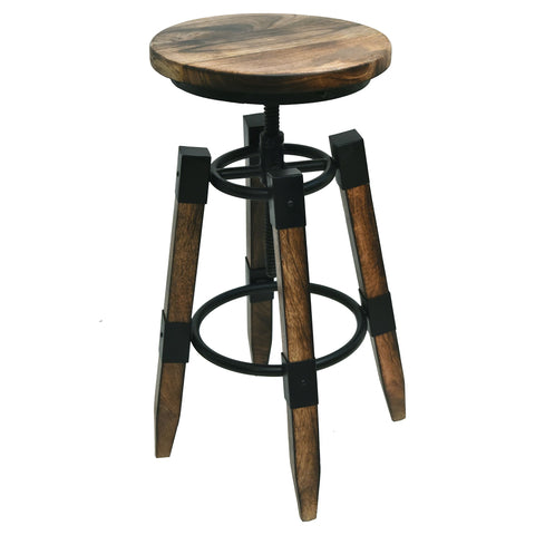 RENFREW - BURN NATURAL COLOUR - WOOD - ADJUSTABLE - BAR STOOL