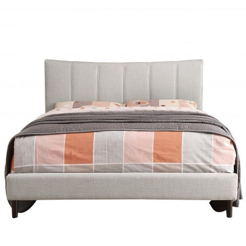 DOUBLE (FULL) SIZE- (ROSE BEIGE)- FABRIC - BED FRAME- WITH SLATS