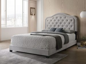 KING SIZE- (SAMANTHA GREY)- VELVET FABRIC- BED FRAME- (BOX SPRING REQUIRED)