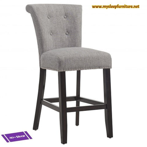 (SELMA GREY- 2 PACK)- FABRIC- ESPRESSO LEGS- COUNTER STOOL