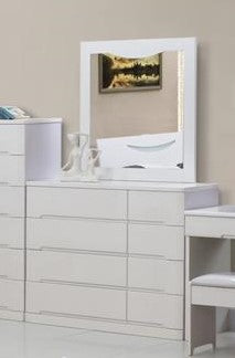 (SMILE WHITE)- 8 DRAWER- DRESSER + MIRROR