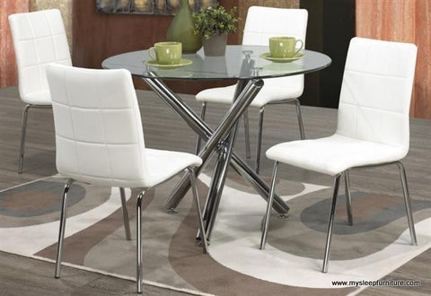 SOLARA- ROUND- GLASS TOP- DINING TABLE- WITH 4 WHITE PU LEATHER CHAIRS