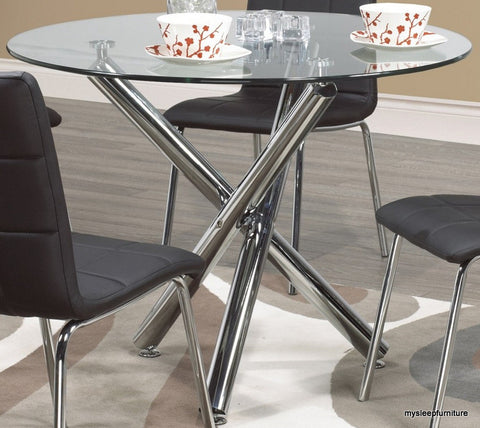 SOLARA- ROUND- GLASS TOP- DINING TABLE