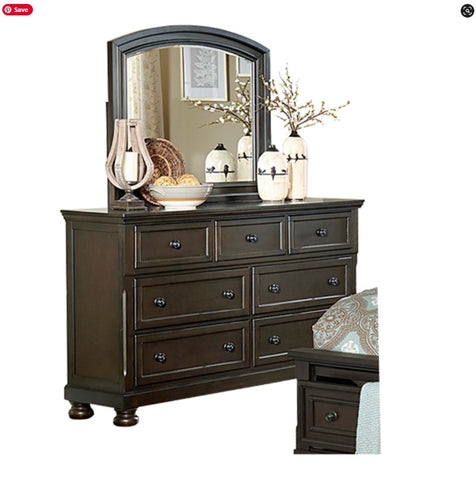 (1718GY GREYISH BROWN- 7)- WOOD- DRESSER + MIRROR- WITH HIDDEN DRAWER