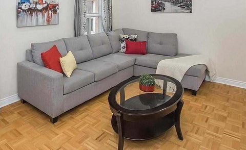 (TANGO GREY RHF)- FABRIC- CANADIAN MADE- SECTIONAL SOFA- WITH 2 PILLOWS (DELIVERY AFTER 3 WEEKS)