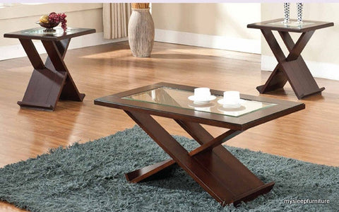 2039 TRIAD GLASS COFFEE TABLE WITH 2 SIDE TABLES