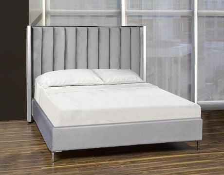 QUEEN SIZE- (TOBY GREY)- VELVET FABRIC- BED FRAME- WITH SLATS