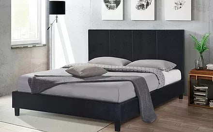 QUEEN SIZE- (UPTOWN BLACK)- PU LEATHER- BED FRAME- WITH SLATS