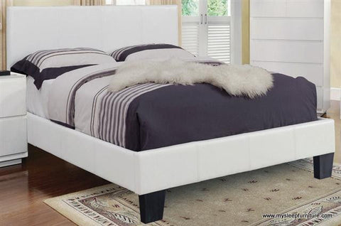 DOUBLE (FULL) SIZE- (VOLT WHITE)- PU LEATHER- BED FRAME- WITH SLATS