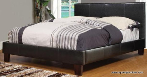 DOUBLE (FULL) SIZE- (VOLT ESPRESSO)- PU LEATHER- BED FRAME- WITH SLATS