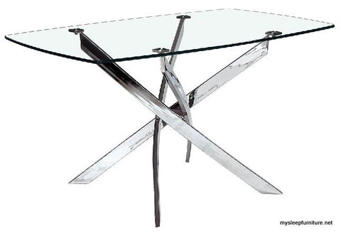 (VICTOR LARGE- 1)- RECTANGLE GLASS DINING TABLE WITH CHROME LEGS