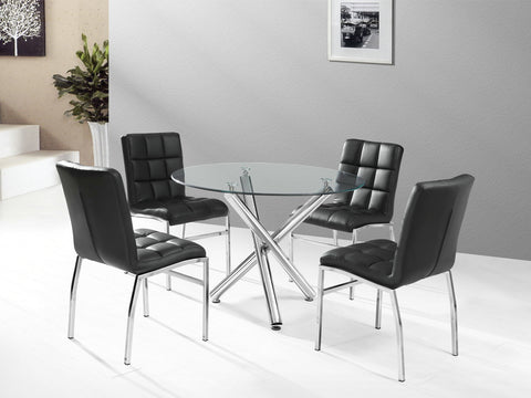 811 WESTON- ROUND- GLASS TOP- DINING TABLE- WITH 4 BLACK PU LEATHER CHAIRS