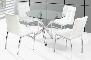 811 WESTON- ROUND- GLASS TOP- DINING TABLE- WITH 4 WHITE PU LEATHER CHAIRS