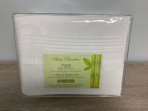 QUEEN SIZE- (SWISS BAMBOO 7200 WHITE)- 4 PC. SHEET SET