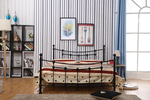 DOUBLE (FULL) SIZE- (04 BLACK)- METAL- BED FRAME- WITH SLATS