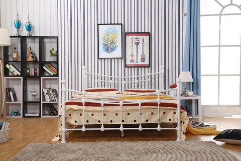 TWIN (SINGLE) SIZE- (04 WHITE)- METAL- BED FRAME- WITH SLATS