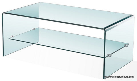 BENT GLASS- COFFEE TABLE- WITH SHELF