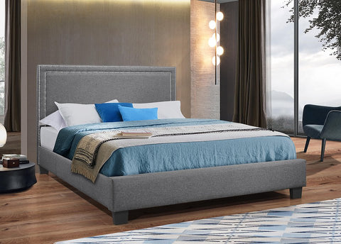 QUEEN SIZE - (5280 GREY) - FABRIC- BED FRAME - WITH SLATS