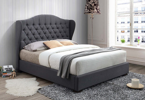 QUEEN SIZE - (5730 GREY) - FABRIC- BED FRAME - WITH SLATS