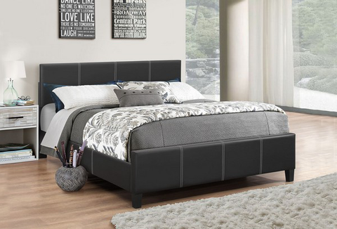 DOUBLE (FULL) SIZE- (165 BLACK)- PU LEATHER- BED FRAME- WITH SLATS