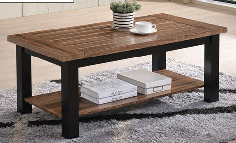 EVE- BROWN COLOR- TWO TONE- WOOD- COFFEE TABLE- WITH SHELF