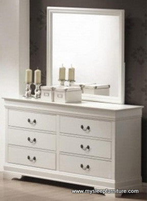 LOUIS PHILLIP- WHITE COLOR- 6 DRAWER- DRESSOR + MIRROR