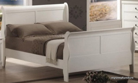 KING SIZE- (BO LP WHITE- 1)- WOOD- BED FRAME- (BOX SPRING REQUIRED)