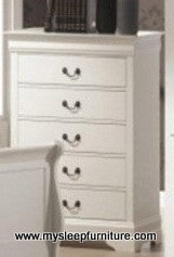LOUIS PHILLIP- WHITE COLOR- CHEST OF 5 DRAWERS