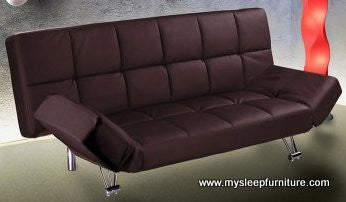 MIES- BROWN COLOR- PU LEATHER- KLIK KLAK SOFA BED- WITH FOLDING ARMS
