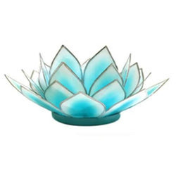 Dahlia Lotus Tea Light Holder, Aquamarine