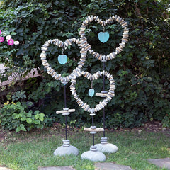 Driftwood & Stone With Glass Heart Garden Stand