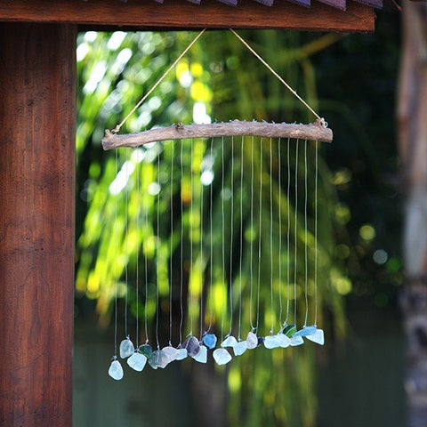 Driftwood and Sea Glass Raindrop Shower Mobiles - Om Gallery