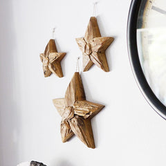 Teak Driftwood Stars Set of 3